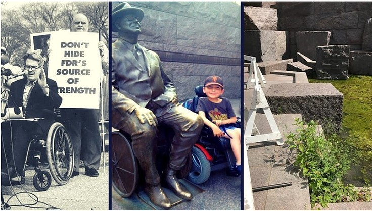 Collage of photos from FDR Memorial. Far left is Mike Deland speaking. Middle is boy in wheelchair next to FDR wheelchair status. Far right is FDR Memorial maintenance issues.