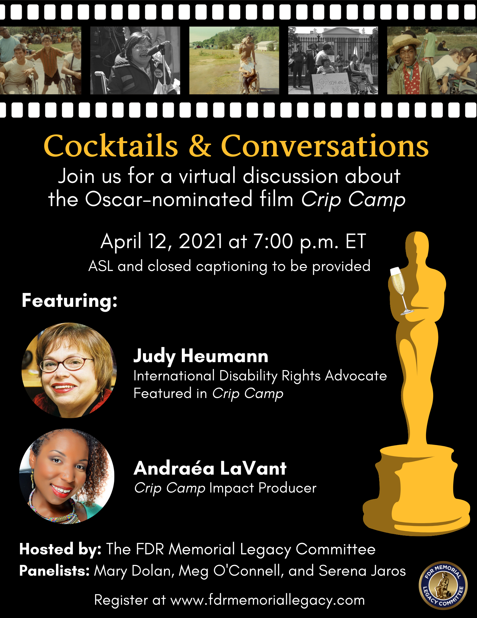 Graphic of invitation for Crip Camp: Cocktails and Conversations event on April 12th