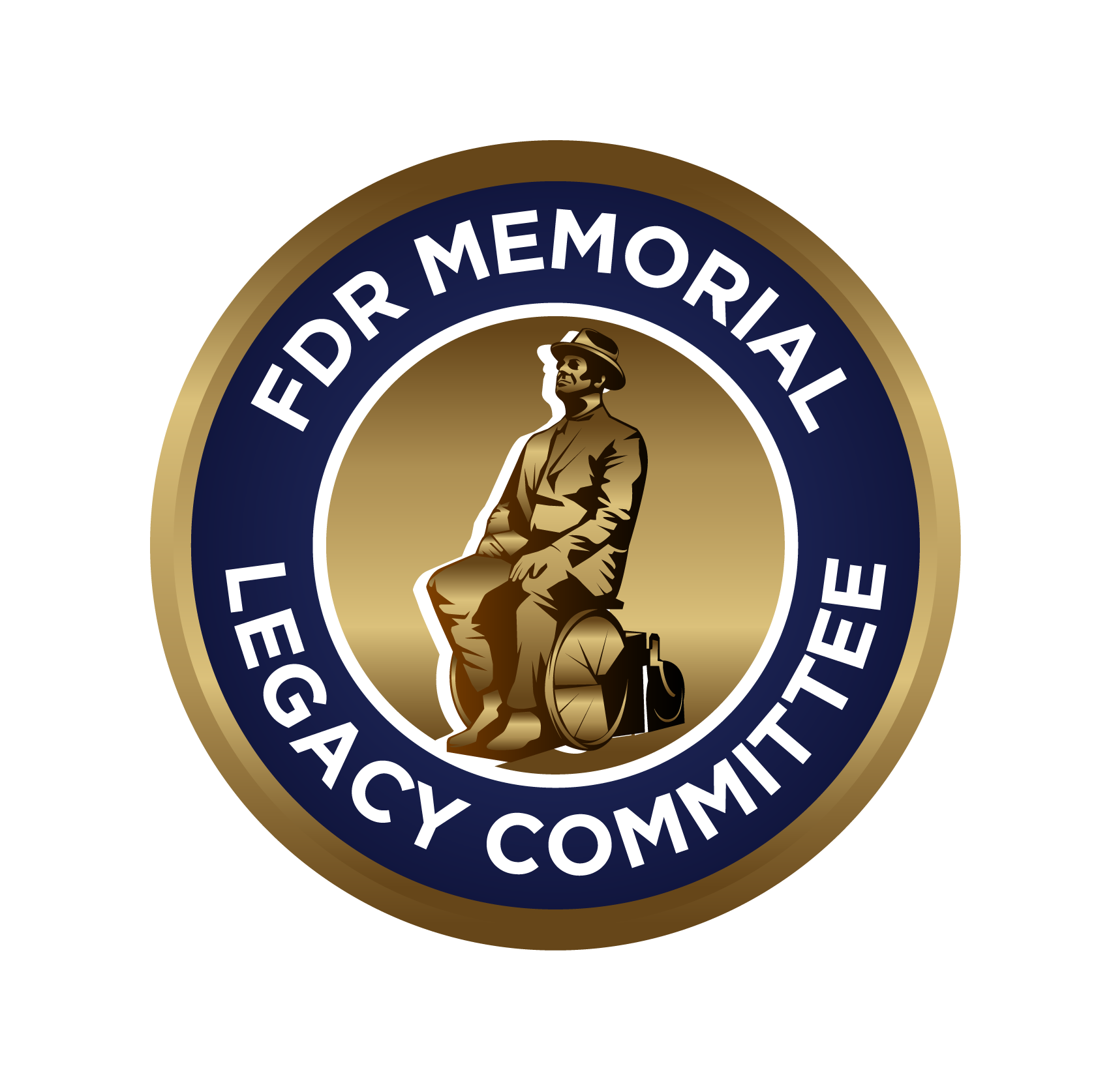FDR circle logo with FDR wheelchair statue