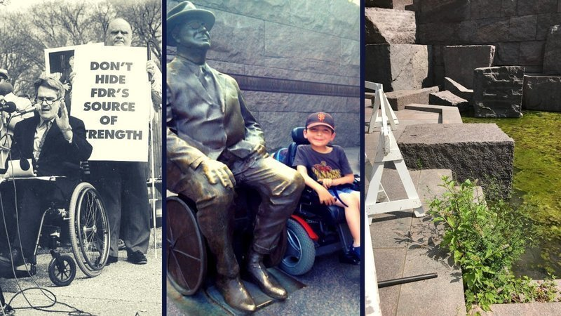 3 photos from FDR wheelchair statue protest and dedication. Far left is Mike Deland protesting, middle is boy with disability next to wheelchair statue and far right is repairs needed at memorial
